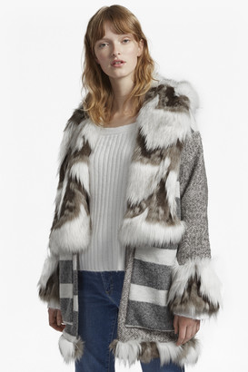 French Connection Noemi Coating Faux Fur Trim Coat