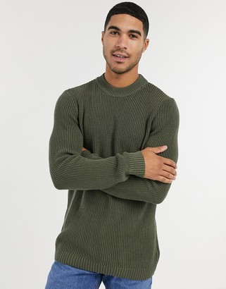 Topman knitted jumper in green
