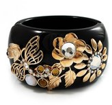 Avalaya Wide Black Resin 'Flower & Butterfly' Hinged Bangle Bracelet