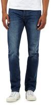 J By Jasper Conran Big And Tall Designer Mid Blue Straight Leg Vintage Wash Jeans