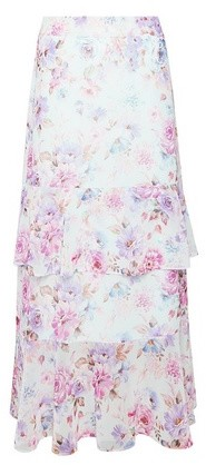 Dorothy Perkins Womens Lilac Floral Print Ruffle Midi Skirt