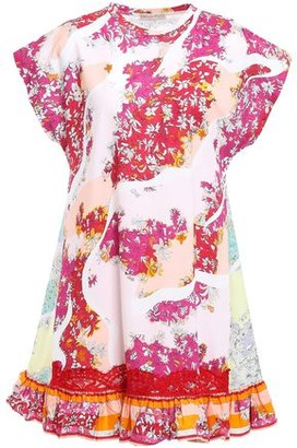 Emilio Pucci Lace-trimmed Printed Cotton-poplin Mini Dress