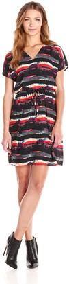 Andrew Marc Women's Short Sleeve V Neck Printed Crepe Blouson