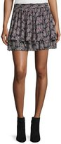 Derek Lam 10 Crosby Tiered Floral Silk Skirt, Black/Multicolor