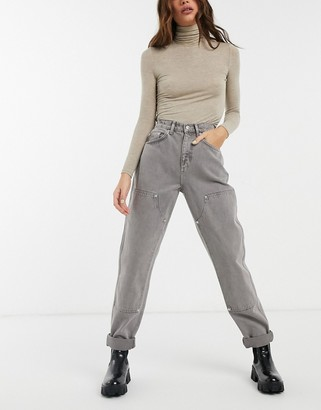 ASOS DESIGN high rise patched utility jeans in grape