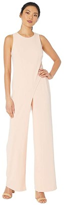 Adrianna Papell Crepe Halter Jumpsuit w/ Overlay (Black) Women's Jumpsuit & Rompers One Piece
