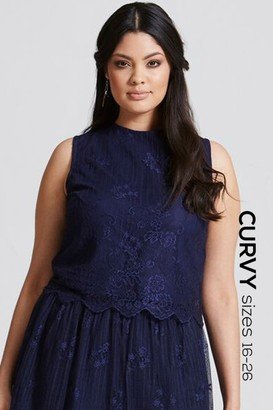 Little Mistress Curvy Navy Lace Scallop Hem Top
