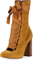 Suede Chunky Lace-Up Bootie, Spicy Yellow