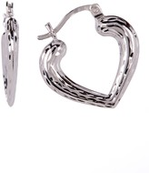 Diamond-Cut Stampato Heart Hoop Earrings