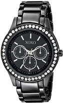 XOXO Women's XO5333 Gun-metal Bracelet With Rhinestones Accent Watch