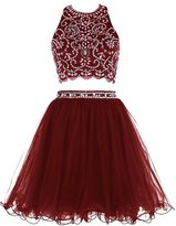 Fanciest Women's Beaded Two Pieces 2016 Short Prom Homecoming Dresses for Juniors