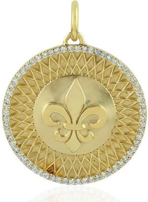 Artisan 14Kt Yellow Gold Floral De Lis Circle Pendant Diamond Jewelry