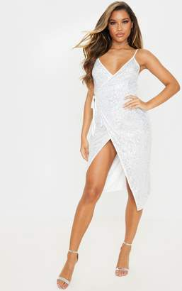 PrettyLittleThing Silver Sequin Strappy Wrap Dress