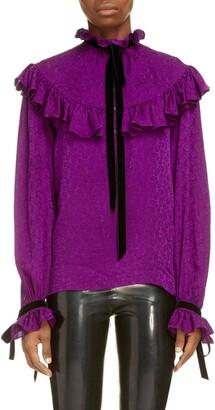 Saint Laurent Ribbon Trim Paisley Silk Jacquard Blouse
