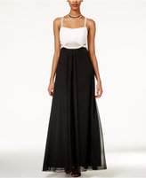 Teeze Me Juniors' Embellished Illusion-Waist Two-Tone Gown