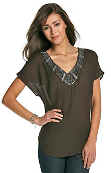 Amy Byer Solid Dolman Sleeve Woven Tunic