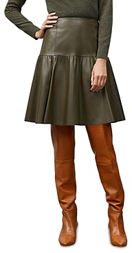 Lafayette 148 New York Franklin Leather A Line Skirt