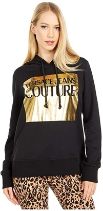 Versace Hoodie with Gold Box Logo (Black/Gold) Women's Clothing