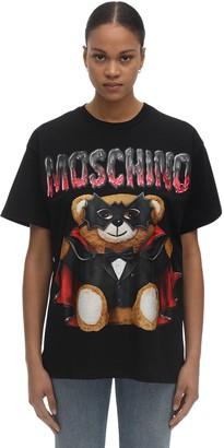 Moschino Over Bat Teddy Print Jersey T-Shirt