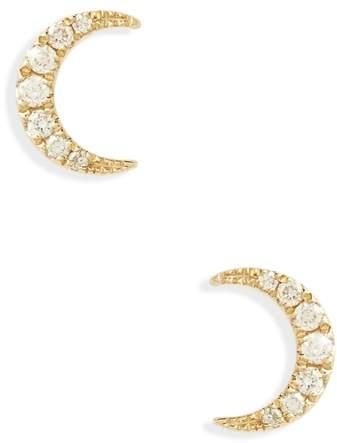 Ef Collection Mini Moon Diamond Stud Earrings