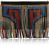 Swarovski crystal-embellished fringed leather clutch