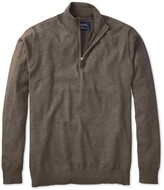 Charles Tyrwhitt Brown cotton cashmere zip neck sweater