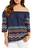 Bobeau Multi Color Aztec Embroidered Off-The-Shoulder Top