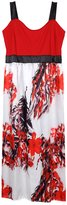 AMZ PLUS Womens Sleeveless Sling Print Long Swing Dress 3XL