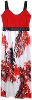AMZ PLUS Womens Sleeveless Sling Print Long Swing Dress XL