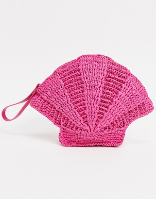 And other stories & straw shell clutch bag with shell strap in pink