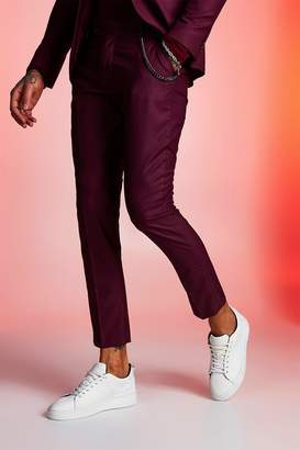 boohoo Plain Skinny Fit Suit Trouser With Chain