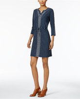 Style&Co. Style & Co Cotton Embroidered Drawstring-Waist Dress, Only at Macy's