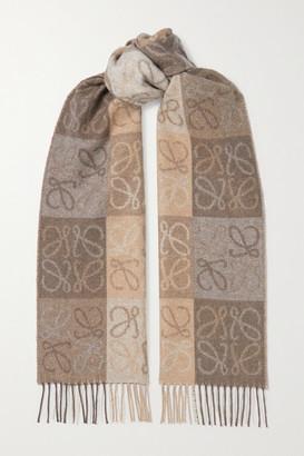 Loewe Fringed Wool And Cashmere-blend Jacquard Scarf - Beige