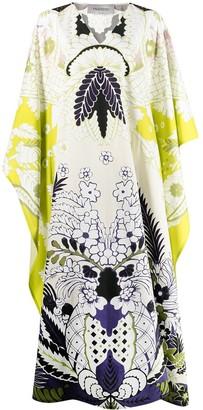 Valentino World Arazzo print cape-style draped dress