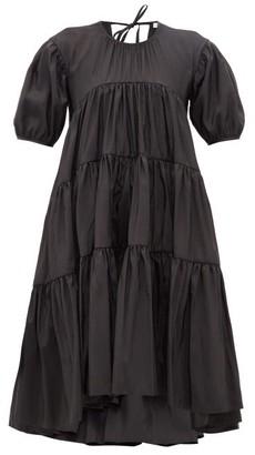 Cecilie Bahnsen Esme Tie-back Tiered Faille Midi Dress - Womens - Black