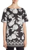 St. John Floral-Print Silk Tunic