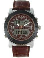 Timetech TIMETECH Men's Analog Digital Multi-Function Weekend Sport Watch with Brown Leather Wrist Band