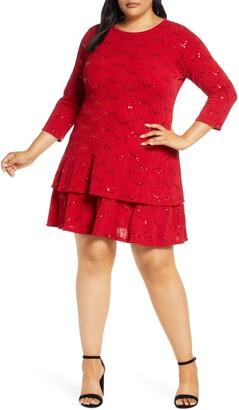 MICHAEL Michael Kors Sequin Jacquard Tiered Dress