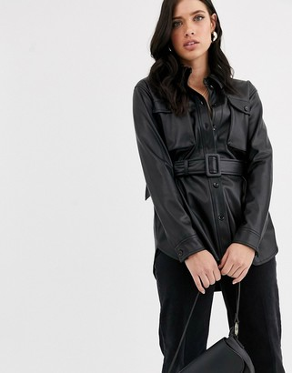 Vero Moda leather look jacket with self belt-Black