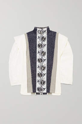Chloé Embellished Embroidered Linen, Tweed And Canvas Blouse - Ivory