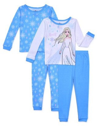 Frozen 2 Toddler Girl Long Sleeve Snug Fit Cotton Pajamas, 4pc Set