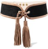 Balmain Tassel-trimmed Suede Waist Belt - Black