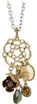 Lucky Brand Beachwood Floral Oversized Charm Necklace (Two Tone) - Jewelry