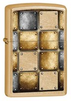 Zippo Riveted Squares Gold Dust Outdoor Indoor Windproof Lighter Free Custom Personalized Engraved Message Permanent Lifetime Engraving on Backside