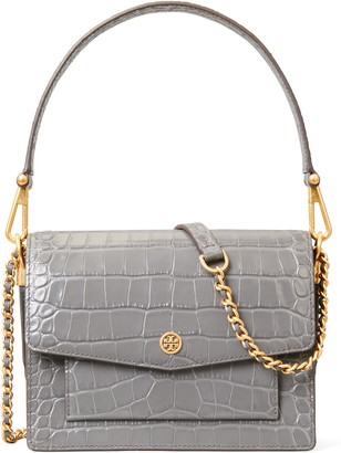 Tory Burch Robinson Embossed Double Strap Leather Flap Bag