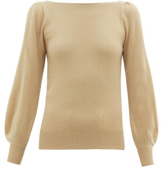Roche Ryan Boat-neck Balloon-sleeve Cashmere Sweater - Womens - Beige