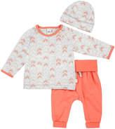 Petit Lem Gray & Orange Geometric Organic Cotton Long-Sleeve Tee Set - Infant