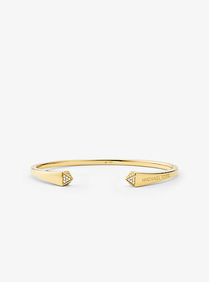 Michael Kors Precious Metal-Plated Sterling Silver and Pave Studded Cuff