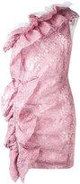 MSGM lace one shoulder dress - women - Viscose/Polyamide/Polyester/Spandex/Elastane - 40