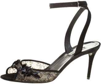 Balenciaga Black Lace Embellished Ankle Strap Sandals Size 38